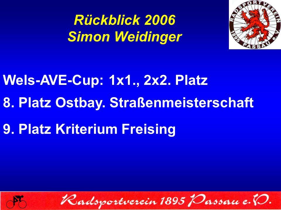 Rückblick 2006 Simon Weidinger Wels-AVE-Cup: 1x1., 2x2. Platz 8. Platz Ostbay. Straßenmeisterschaft 9. Platz Kriterium Freising