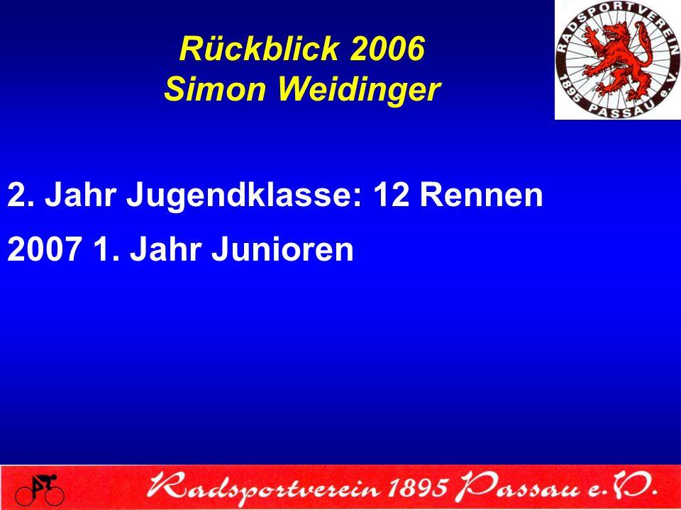 Rückblick 2006 Simon Weidinger 2. Jahr Jugendklasse: 12 Rennen 2007 1. Jahr Junioren