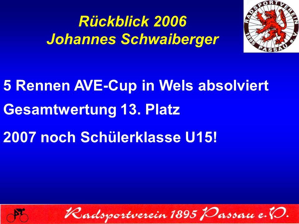 Rückblick 2006 Johannes Schwaiberger 5 Rennen AVE-Cup in Wels absolviert Gesamtwertung 13. Platz 2007 noch Schülerklasse U15!