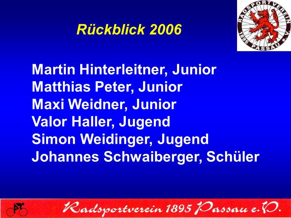 Rückblick 2006 Martin Hinterleitner, Junior Matthias Peter, Junior Maxi Weidner, Junior Valor Haller, Jugend Simon Weidinger, Jugend Johannes Schwaibe