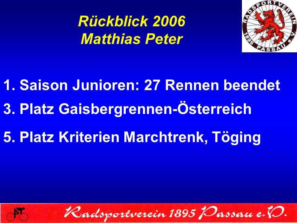 Rückblick 2006 Matthias Peter 1. Saison Junioren: 27 Rennen beendet 3. Platz Gaisbergrennen-Österreich 5. Platz Kriterien Marchtrenk, Töging