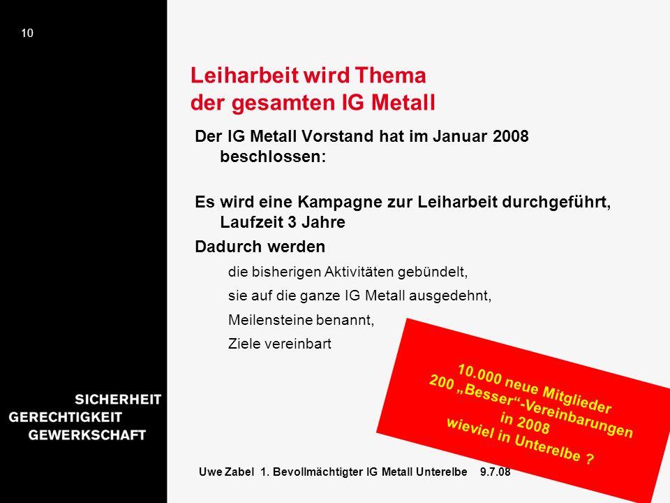 10 Uwe Zabel 1. Bevollmächtigter IG Metall Unterelbe 9.7.08 Leiharbeit wird Thema der gesamten IG Metall Der IG Metall Vorstand hat im Januar 2008 bes