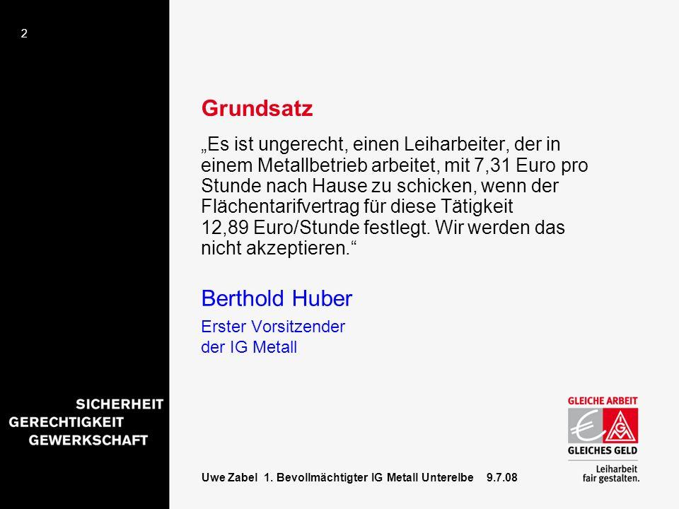 2 Uwe Zabel 1. Bevollmächtigter IG Metall Unterelbe 9.7.08 Grundsatz Es ist ungerecht, einen Leiharbeiter, der in einem Metallbetrieb arbeitet, mit 7,