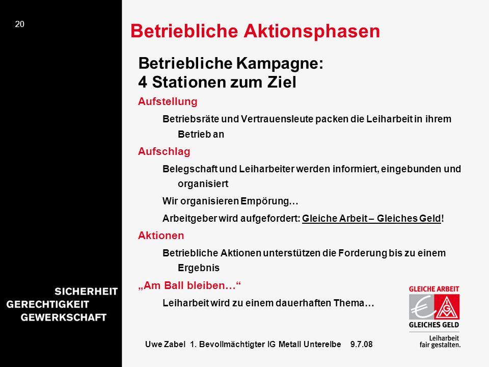 20 Uwe Zabel 1. Bevollmächtigter IG Metall Unterelbe 9.7.08 Betriebliche Kampagne: 4 Stationen zum Ziel Aufstellung Betriebsräte und Vertrauensleute p