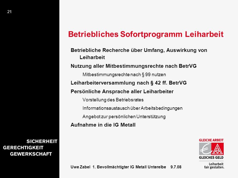21 Uwe Zabel 1. Bevollmächtigter IG Metall Unterelbe 9.7.08 Betriebliches Sofortprogramm Leiharbeit Betriebliche Recherche über Umfang, Auswirkung von