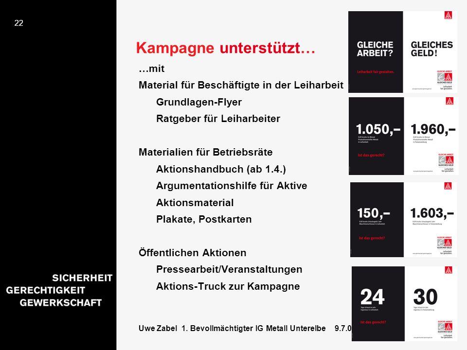 22 Uwe Zabel 1. Bevollmächtigter IG Metall Unterelbe 9.7.08 Kampagne unterstützt… …mit Material für Beschäftigte in der Leiharbeit Grundlagen-Flyer Ra