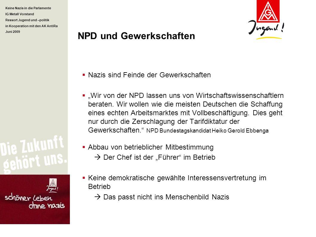 Keine Nazis in die Parlamente IG Metall Vorstand Ressort Jugend und –politik in Kooperation mit den AK AntiRa Juni 2009 NPD und Gewerkschaften Nazis s