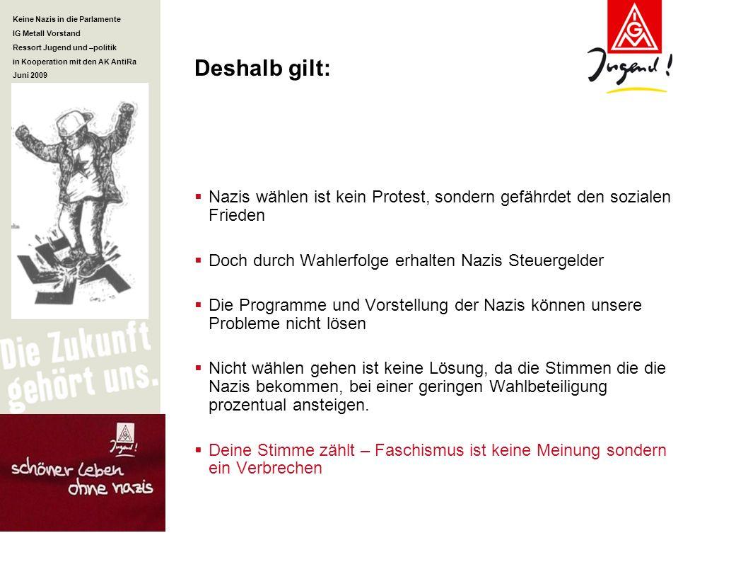 Keine Nazis in die Parlamente IG Metall Vorstand Ressort Jugend und –politik in Kooperation mit den AK AntiRa Juni 2009 Deshalb gilt: Nazis wählen ist