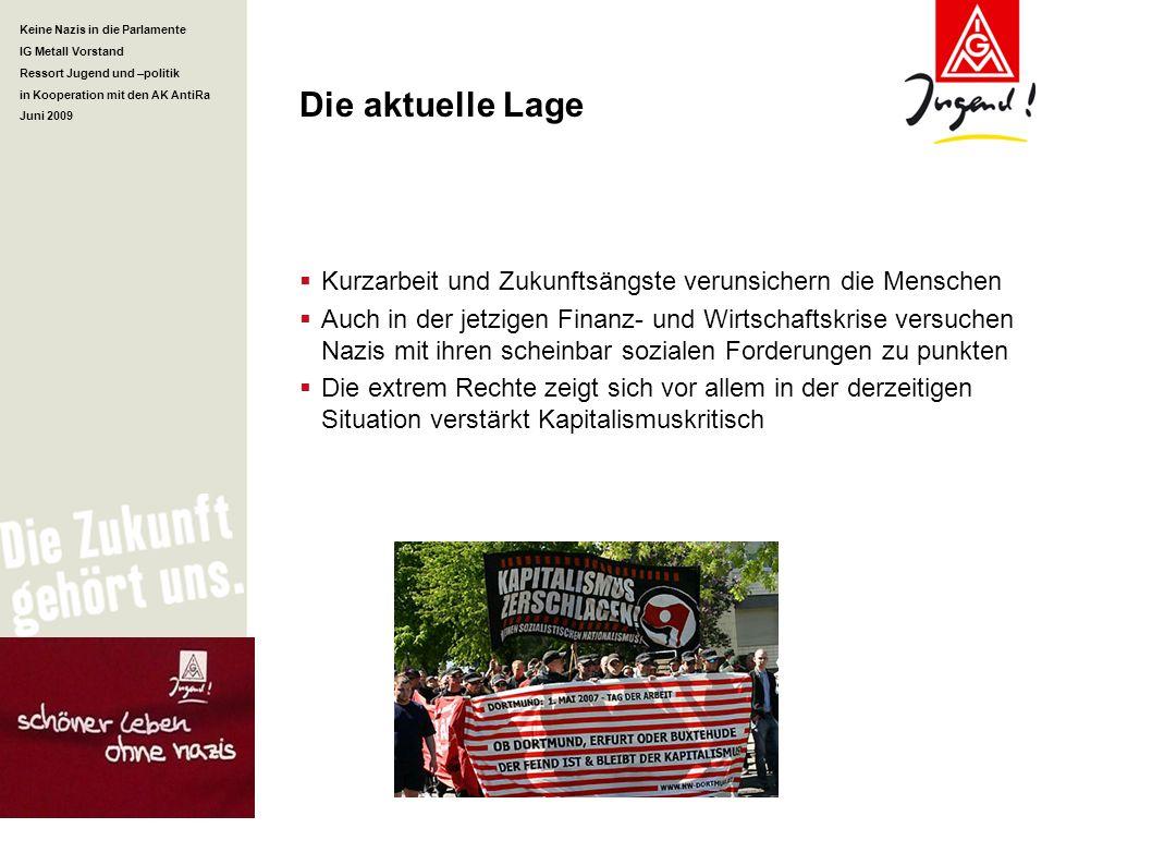 Keine Nazis in die Parlamente IG Metall Vorstand Ressort Jugend und –politik in Kooperation mit den AK AntiRa Juni 2009 Die aktuelle Lage Kurzarbeit u