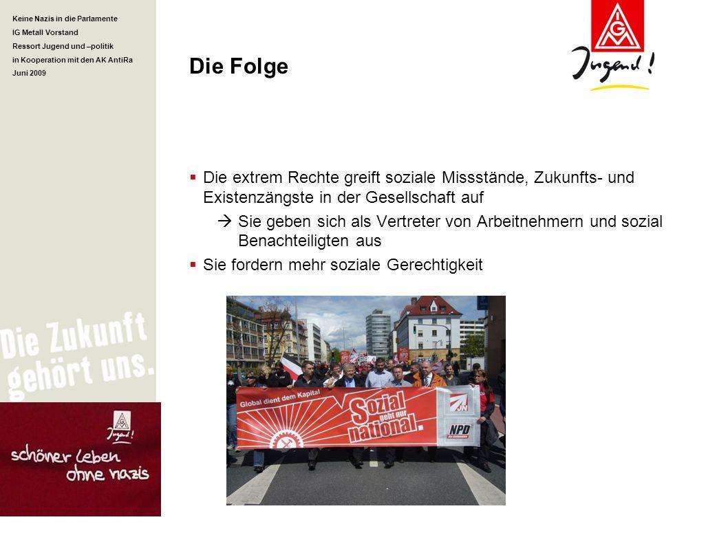 Keine Nazis in die Parlamente IG Metall Vorstand Ressort Jugend und –politik in Kooperation mit den AK AntiRa Juni 2009 Die Folge Die extrem Rechte gr