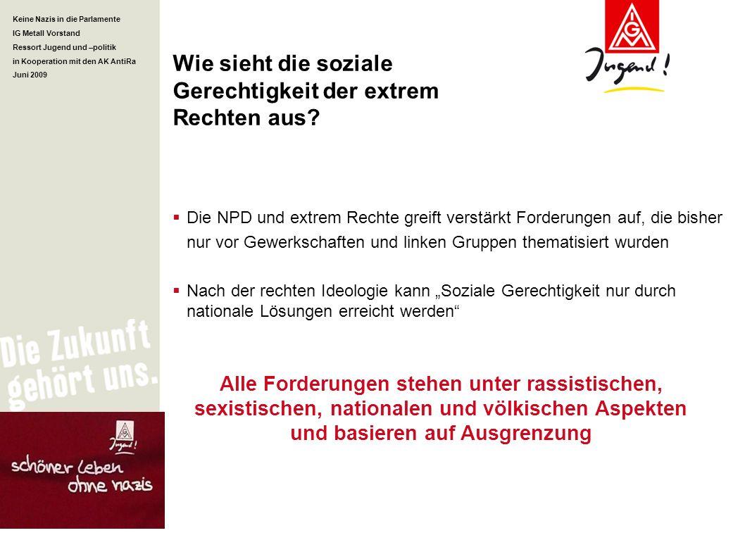 Keine Nazis in die Parlamente IG Metall Vorstand Ressort Jugend und –politik in Kooperation mit den AK AntiRa Juni 2009 Wie sieht die soziale Gerechti