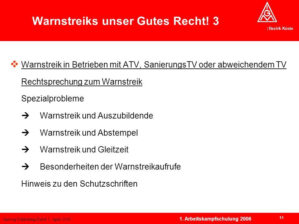 Garweg/Schlichting/Zabel 1. April 2006 Bezirk Küste 11 1. Arbeitskampfschulung 2006 Warnstreik in Betrieben mit ATV, SanierungsTV oder abweichendem TV
