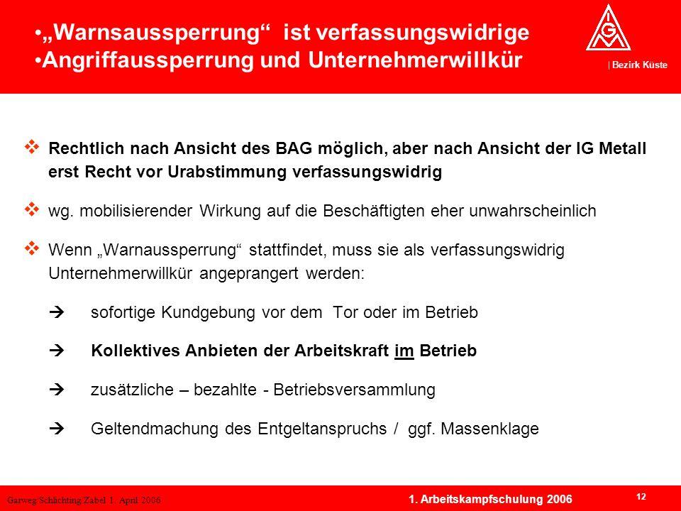 Garweg/Schlichting/Zabel 1. April 2006 Bezirk Küste 12 1. Arbeitskampfschulung 2006 Rechtlich nach Ansicht des BAG möglich, aber nach Ansicht der IG M