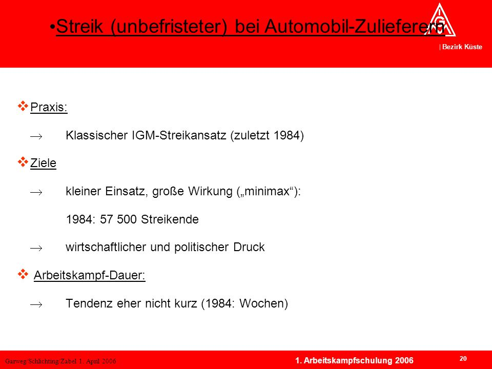 Garweg/Schlichting/Zabel 1. April 2006 Bezirk Küste 20 1. Arbeitskampfschulung 2006 Praxis: Klassischer IGM-Streikansatz (zuletzt 1984) Ziele kleiner