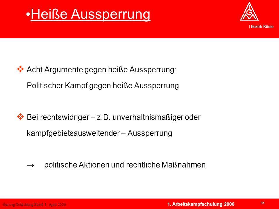 Garweg/Schlichting/Zabel 1. April 2006 Bezirk Küste 31 1. Arbeitskampfschulung 2006 Acht Argumente gegen heiße Aussperrung: Politischer Kampf gegen he