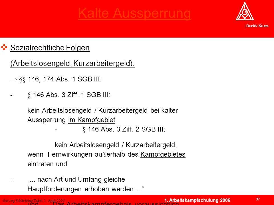 Garweg/Schlichting/Zabel 1. April 2006 Bezirk Küste 37 1. Arbeitskampfschulung 2006 Kalte Aussperrung Sozialrechtliche Folgen (Arbeitslosengeld, Kurza