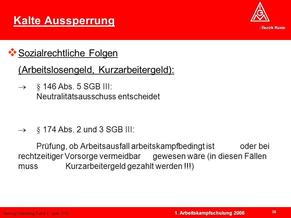 Garweg/Schlichting/Zabel 1. April 2006 Bezirk Küste 38 1. Arbeitskampfschulung 2006 Kalte Aussperrung Sozialrechtliche Folgen (Arbeitslosengeld, Kurza