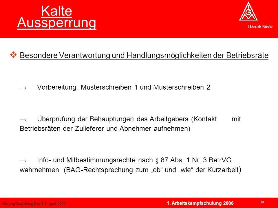 Garweg/Schlichting/Zabel 1. April 2006 Bezirk Küste 39 1. Arbeitskampfschulung 2006 Kalte Aussperrung Besondere Verantwortung und Handlungsmöglichkeit