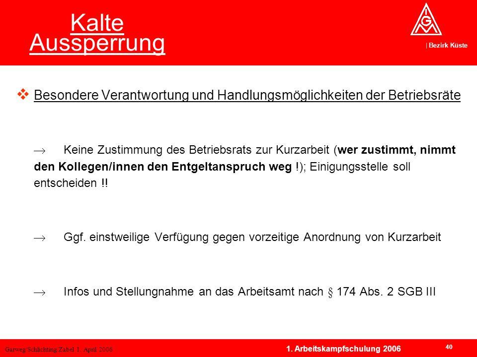 Garweg/Schlichting/Zabel 1. April 2006 Bezirk Küste 40 1. Arbeitskampfschulung 2006 Kalte Aussperrung Besondere Verantwortung und Handlungsmöglichkeit
