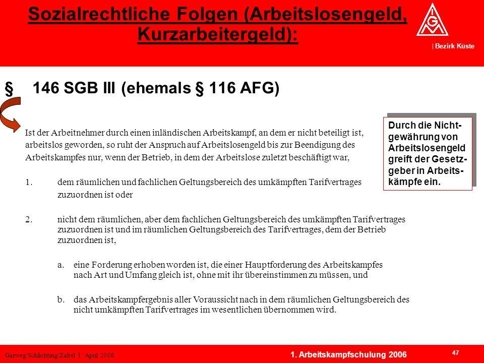 Garweg/Schlichting/Zabel 1. April 2006 Bezirk Küste 47 1. Arbeitskampfschulung 2006 §146 SGB III (ehemals § 116 AFG) Sozialrechtliche Folgen (Arbeitsl