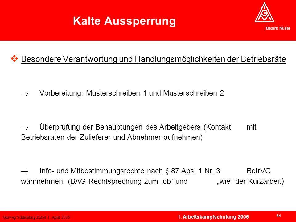Garweg/Schlichting/Zabel 1. April 2006 Bezirk Küste 54 1. Arbeitskampfschulung 2006 Besondere Verantwortung und Handlungsmöglichkeiten der Betriebsrät