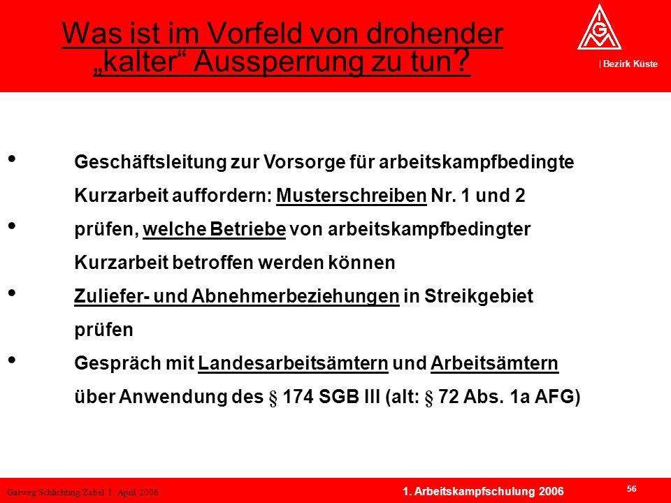 Garweg/Schlichting/Zabel 1. April 2006 Bezirk Küste 56 1. Arbeitskampfschulung 2006 Geschäftsleitung zur Vorsorge für arbeitskampfbedingte Kurzarbeit
