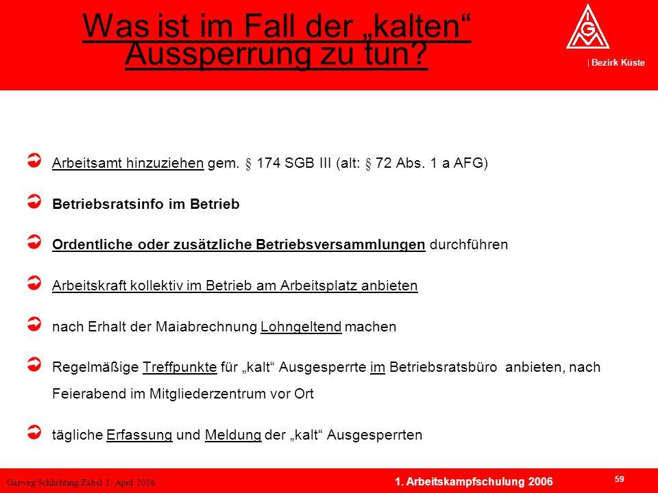 Garweg/Schlichting/Zabel 1. April 2006 Bezirk Küste 59 1. Arbeitskampfschulung 2006 Arbeitsamt hinzuziehen gem. § 174 SGB III (alt: § 72 Abs. 1 a AFG)