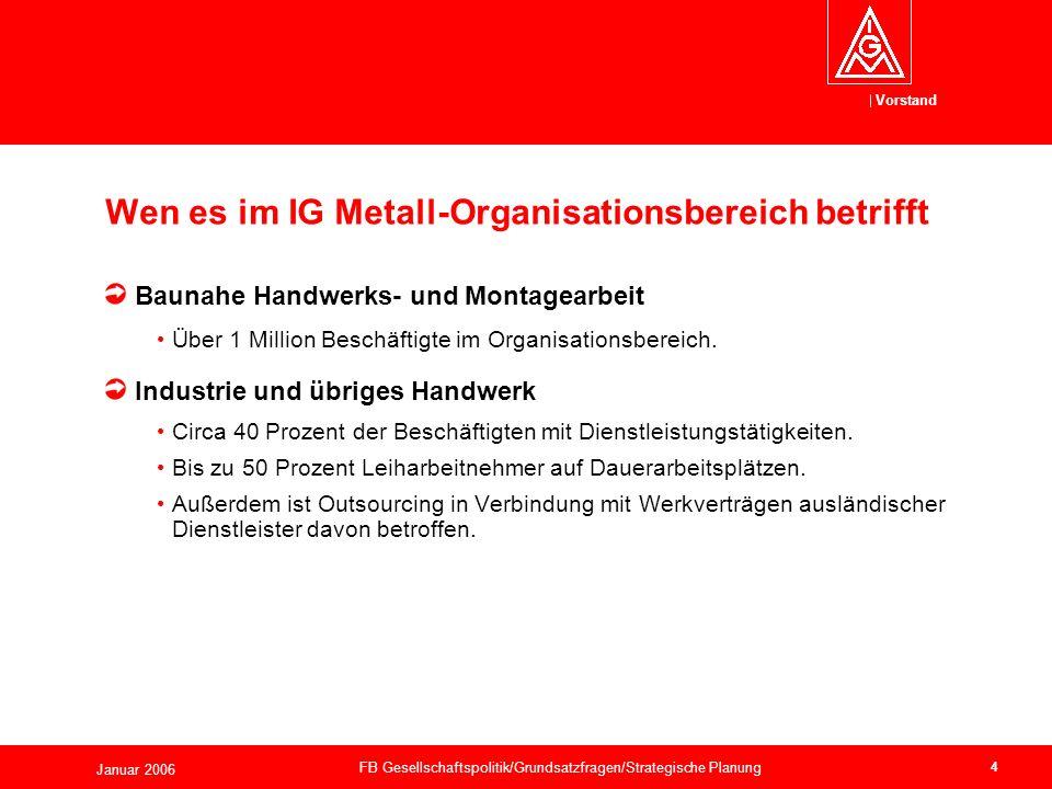 Vorstand Januar 2006 FB Gesellschaftspolitik/Grundsatzfragen/Strategische Planung 4 Baunahe Handwerks- und Montagearbeit Über 1 Million Beschäftigte im Organisationsbereich.