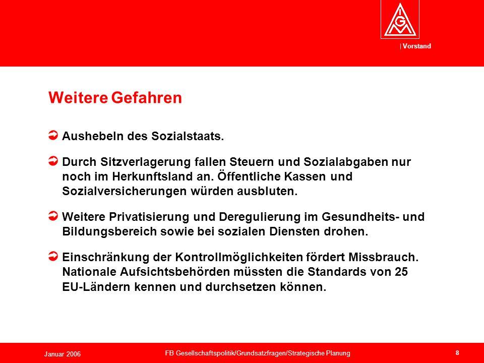 Vorstand Januar 2006 FB Gesellschaftspolitik/Grundsatzfragen/Strategische Planung 8 Aushebeln des Sozialstaats.