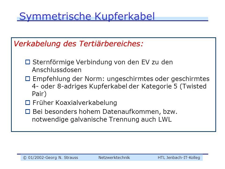 © 01/2002-Georg N. Strauss NetzwerktechnikHTL Jenbach-IT-Kolleg Symmetrische Kupferkabel Verkabelung des Tertiärbereiches: Sternförmige Verbindung von