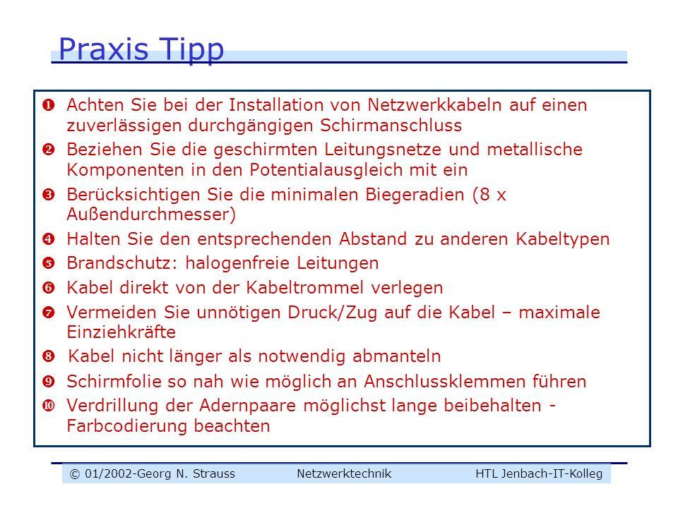 © 01/2002-Georg N. Strauss NetzwerktechnikHTL Jenbach-IT-Kolleg Praxis Tipp Achten Sie bei der Installation von Netzwerkkabeln auf einen zuverlässigen