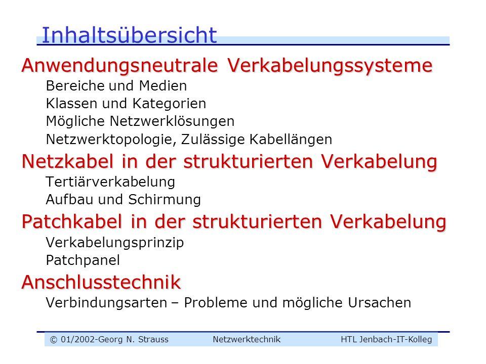 © 01/2002-Georg N. Strauss NetzwerktechnikHTL Jenbach-IT-Kolleg Inhaltsübersicht Anwendungsneutrale Verkabelungssysteme Bereiche und Medien Klassen un