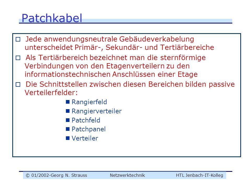 © 01/2002-Georg N. Strauss NetzwerktechnikHTL Jenbach-IT-Kolleg Patchkabel Jede anwendungsneutrale Gebäudeverkabelung unterscheidet Primär-, Sekundär-