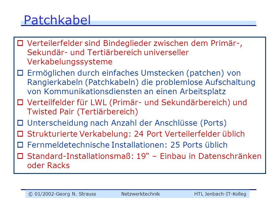 © 01/2002-Georg N. Strauss NetzwerktechnikHTL Jenbach-IT-Kolleg Patchkabel Verteilerfelder sind Bindeglieder zwischen dem Primär-, Sekundär- und Terti