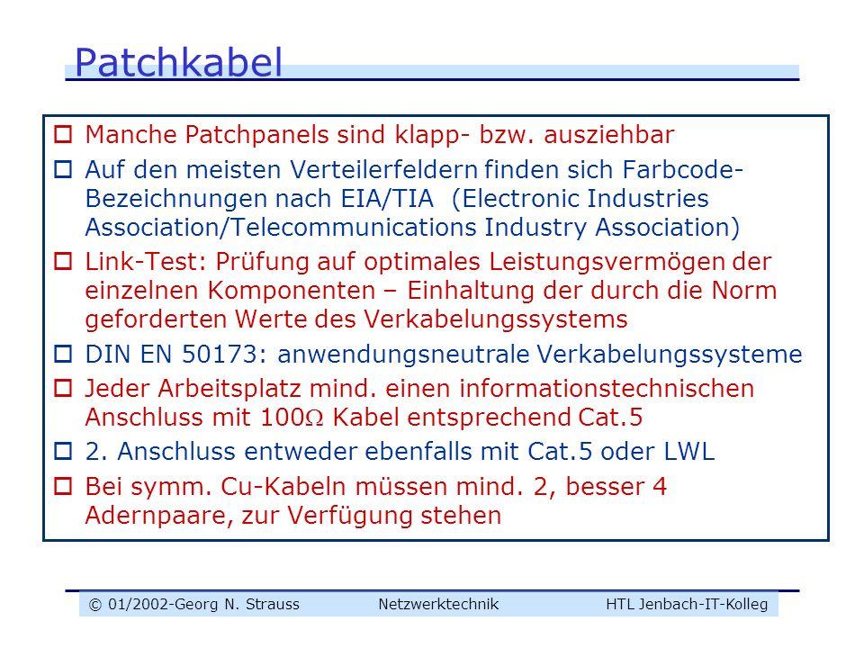 © 01/2002-Georg N. Strauss NetzwerktechnikHTL Jenbach-IT-Kolleg Patchkabel Manche Patchpanels sind klapp- bzw. ausziehbar Auf den meisten Verteilerfel
