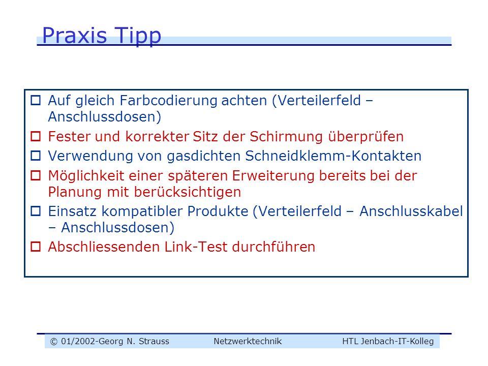 © 01/2002-Georg N. Strauss NetzwerktechnikHTL Jenbach-IT-Kolleg Praxis Tipp Auf gleich Farbcodierung achten (Verteilerfeld – Anschlussdosen) Fester un