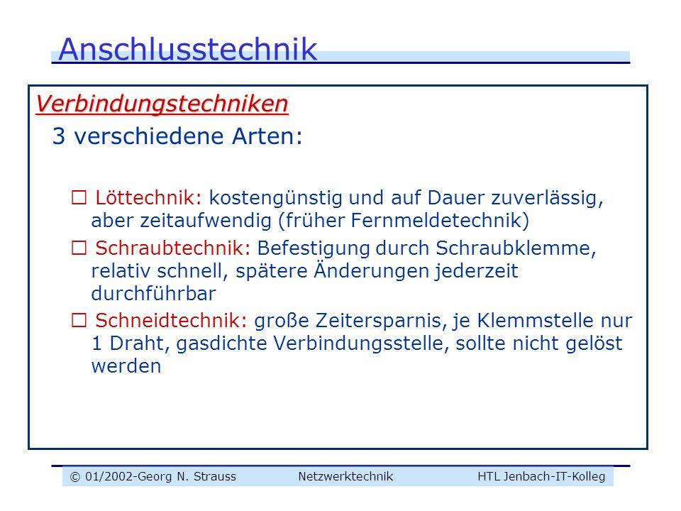 © 01/2002-Georg N. Strauss NetzwerktechnikHTL Jenbach-IT-Kolleg Anschlusstechnik Verbindungstechniken 3 verschiedene Arten:  Löttechnik: kostengünsti