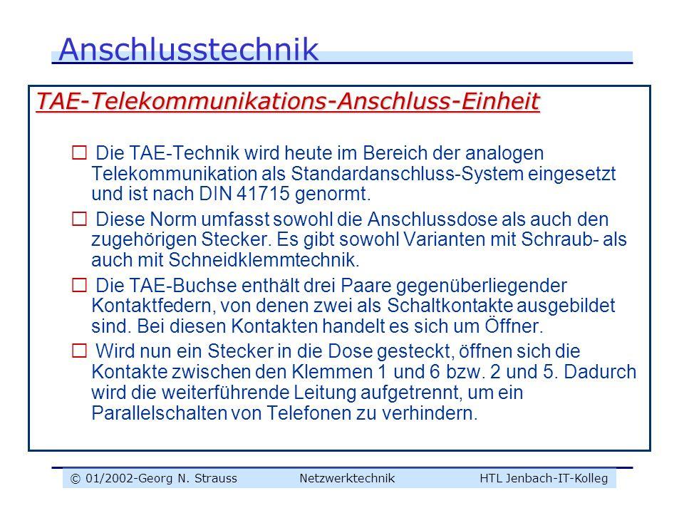 © 01/2002-Georg N. Strauss NetzwerktechnikHTL Jenbach-IT-Kolleg Anschlusstechnik TAE-Telekommunikations-Anschluss-Einheit  Die TAE-Technik wird heute