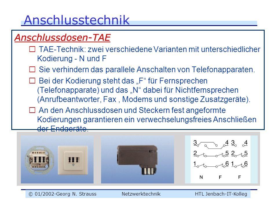 © 01/2002-Georg N. Strauss NetzwerktechnikHTL Jenbach-IT-Kolleg Anschlusstechnik Anschlussdosen-TAE  TAE-Technik: zwei verschiedene Varianten mit unt