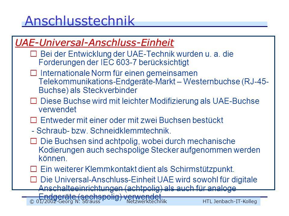 © 01/2002-Georg N. Strauss NetzwerktechnikHTL Jenbach-IT-Kolleg Anschlusstechnik UAE-Universal-Anschluss-Einheit  Bei der Entwicklung der UAE-Technik