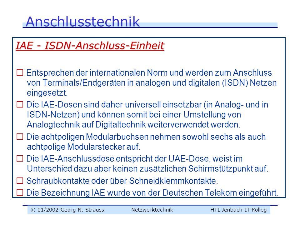 © 01/2002-Georg N. Strauss NetzwerktechnikHTL Jenbach-IT-Kolleg Anschlusstechnik IAE - ISDN-Anschluss-Einheit  Entsprechen der internationalen Norm u