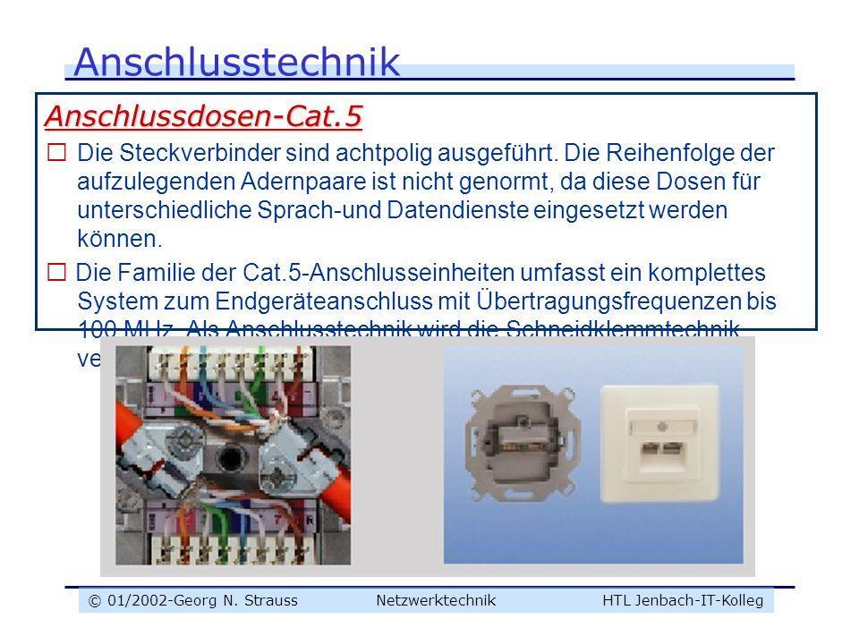 © 01/2002-Georg N. Strauss NetzwerktechnikHTL Jenbach-IT-Kolleg Anschlusstechnik Anschlussdosen-Cat.5  Die Steckverbinder sind achtpolig ausgeführt.