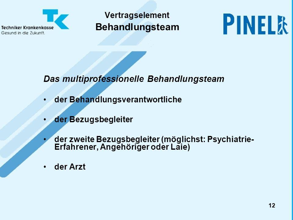 12 Vertragselement Behandlungsteam Das multiprofessionelle Behandlungsteam der Behandlungsverantwortliche der Bezugsbegleiter der zweite Bezugsbegleit