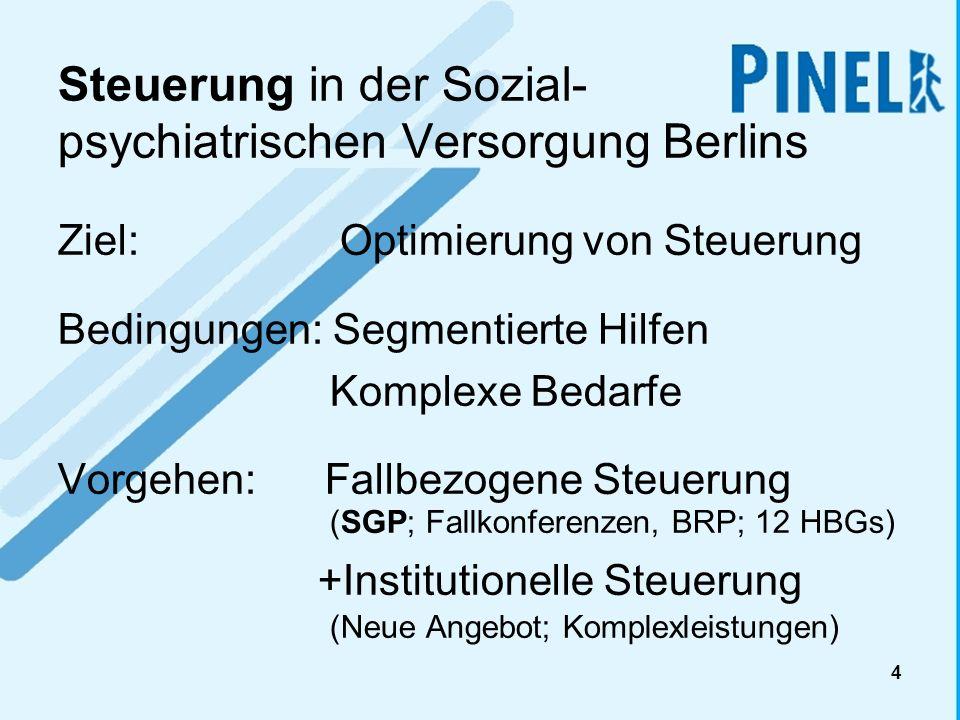 4 Steuerung in der Sozial- psychiatrischen Versorgung Berlins Ziel: Optimierung von Steuerung Bedingungen: Segmentierte Hilfen Komplexe Bedarfe Vorgeh