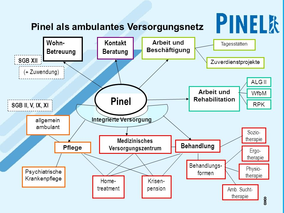 8 8 Pinel Behandlung Tagesstätten Arbeit und Beschäftigung Zuverdienstprojekte Pflege allgemein ambulant Psychiatrische Krankenpflege WfbM SGB XII Woh
