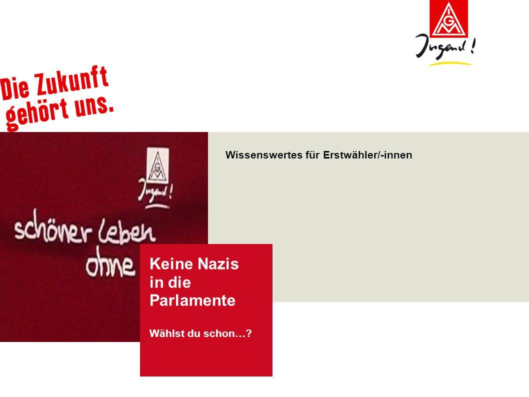 Keine Nazis in die Parlamente IG Metall Vorstand Ressort Jugendarbeit und –politik in Kooperation mit dem AK AntiRa Juni 2009 Bundestagswahl 2009 Was sind die Bundestagswahlen.