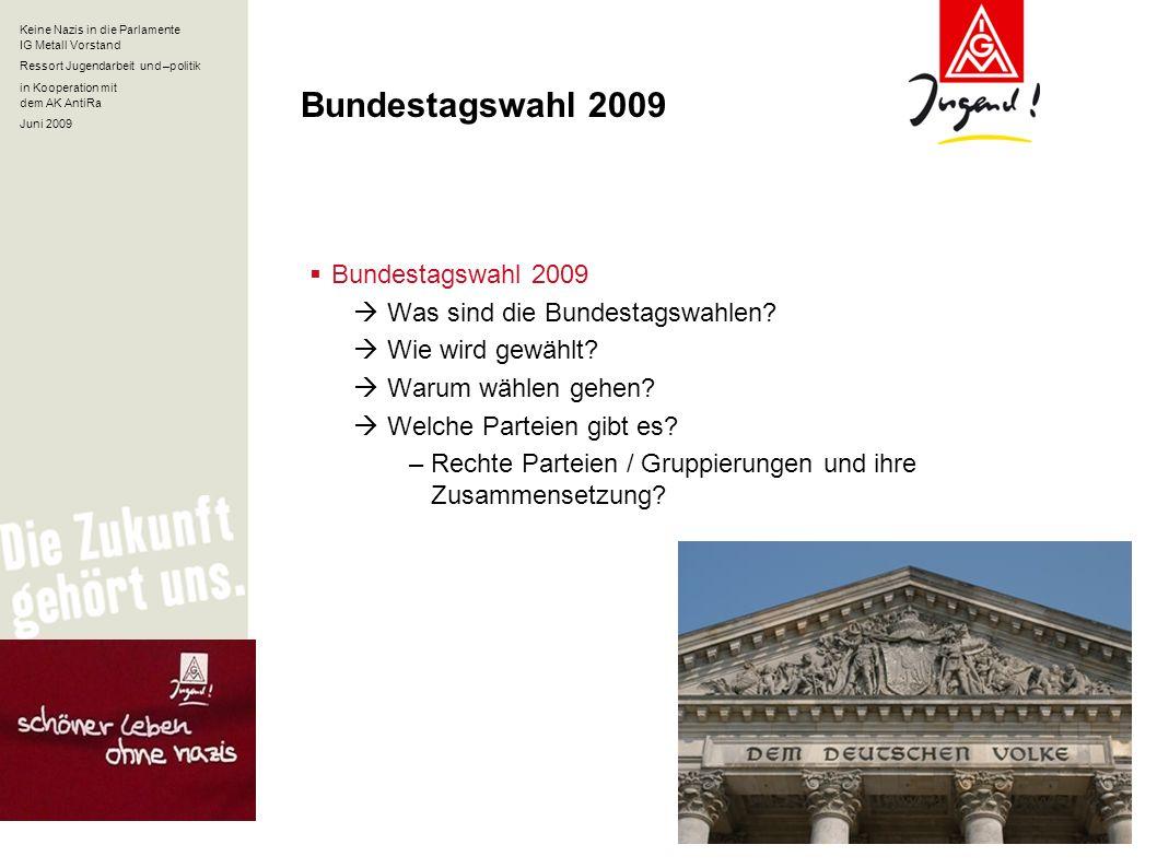 Keine Nazis in die Parlamente IG Metall Vorstand Ressort Jugendarbeit und –politik in Kooperation mit dem AK AntiRa Juni 2009 Bundestagswahl 2009 Was