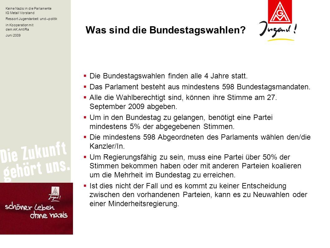 Keine Nazis in die Parlamente IG Metall Vorstand Ressort Jugendarbeit und –politik in Kooperation mit dem AK AntiRa Juni 2009 Was sind die Bundestagsw