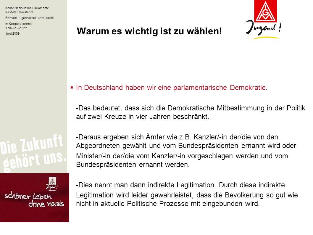 Keine Nazis in die Parlamente IG Metall Vorstand Ressort Jugendarbeit und –politik in Kooperation mit dem AK AntiRa Juni 2009 Warum es wichtig ist zu