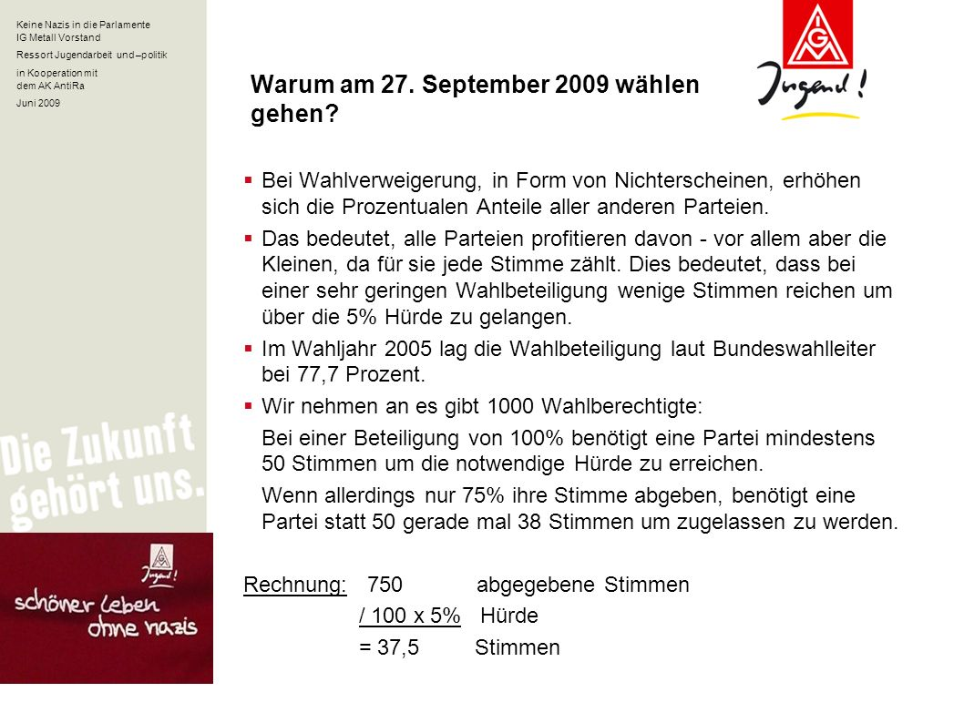 Keine Nazis in die Parlamente IG Metall Vorstand Ressort Jugendarbeit und –politik in Kooperation mit dem AK AntiRa Juni 2009 Warum am 27. September 2